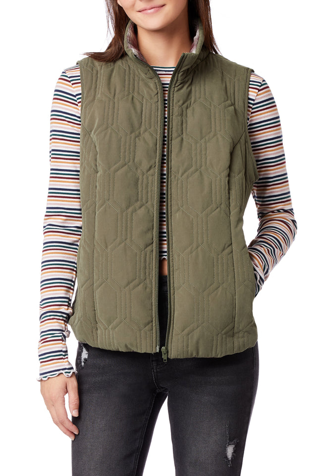 Mikko Quilted Vests for Women - Serpent Green - Front