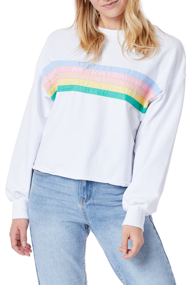 White Rainbow Terry Sweatshirts for Women - Front View