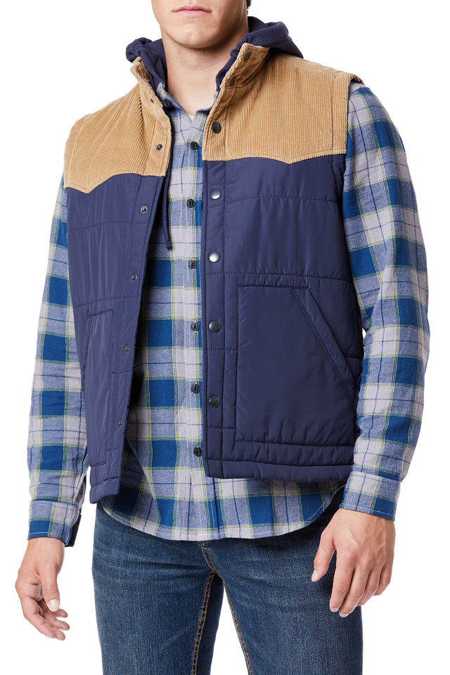 Navy Retro Quilted Outerwear Vest for Men - Front View