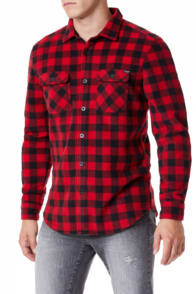 Red Plaid Fleece Long Sleeve Button-Up for Men - Front View