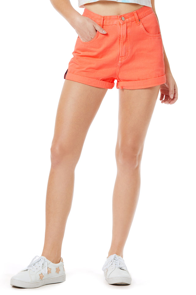 Retro High Waist Neon Denim Short (Online Exclusive)