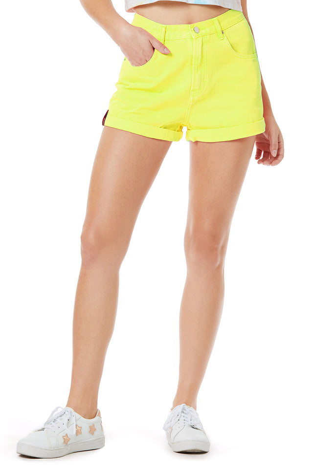 Retro High Waist Neon Yellow Denim Shorts for Women - Front View