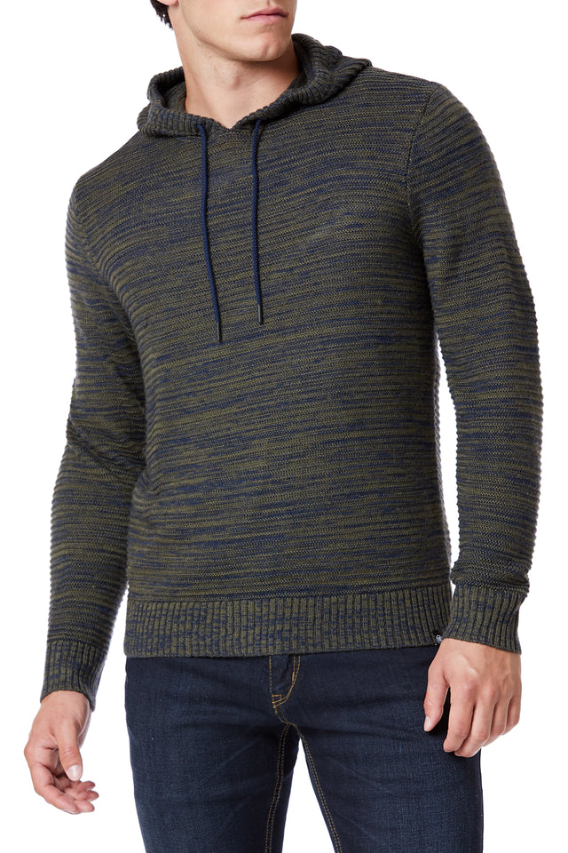 Heather Drawcord Sweater Hoodies for Men - Front View