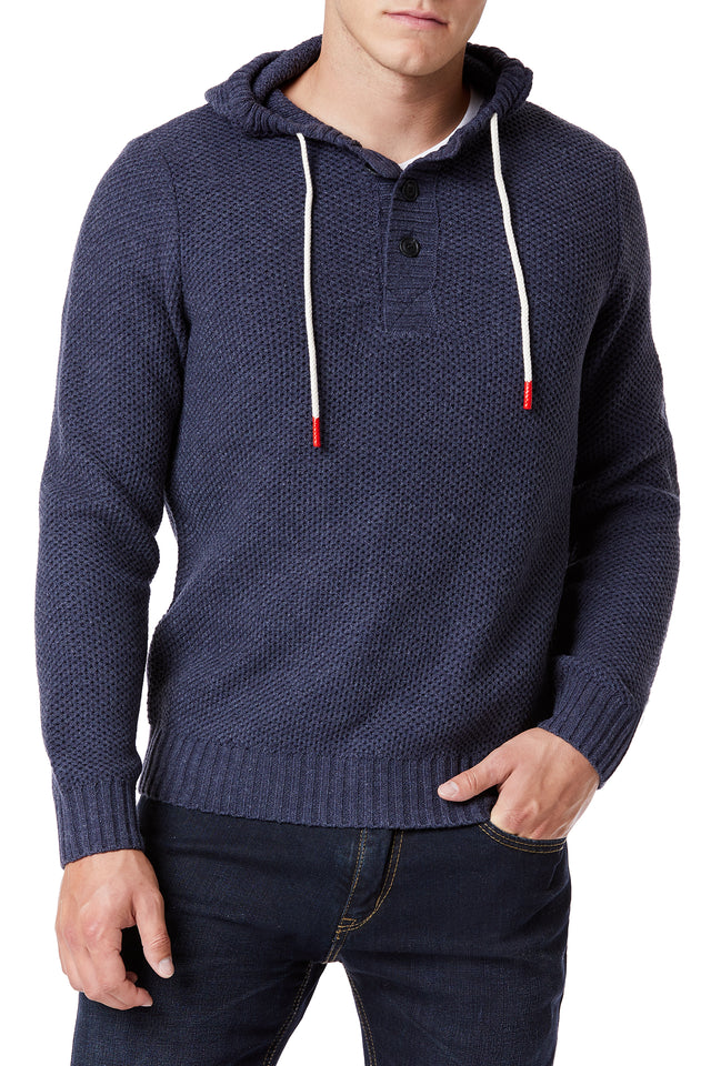 Blue Textured Sweater Hoodies for Men - Front View