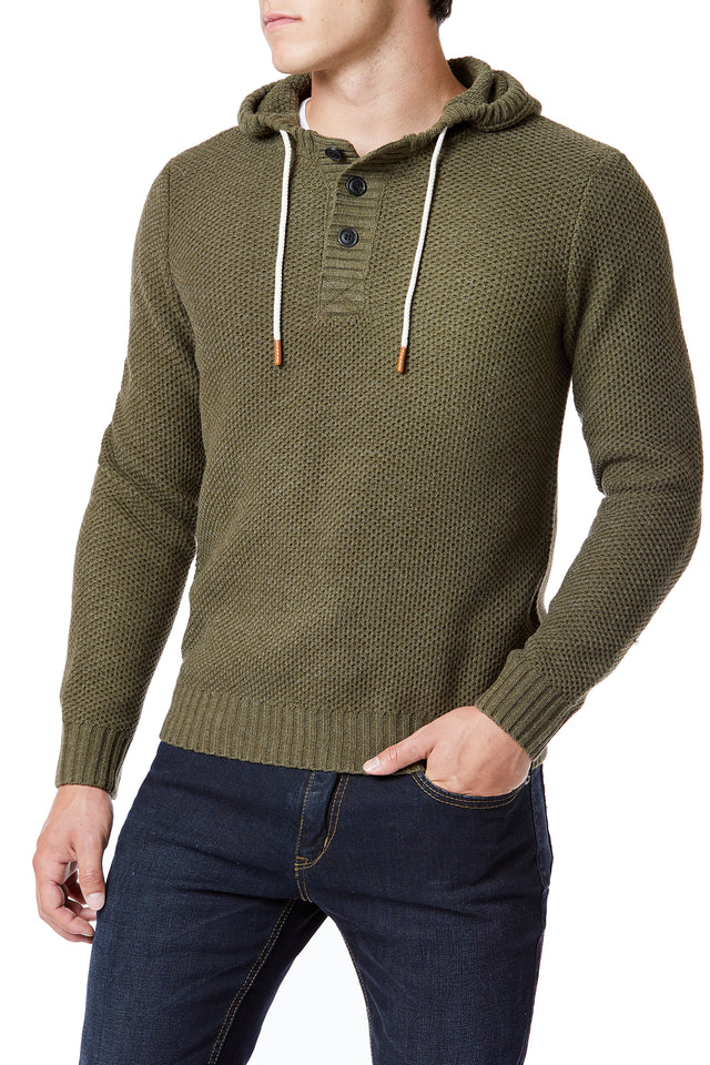 Olive Green Textured Sweater Hoodies for Men - Front View