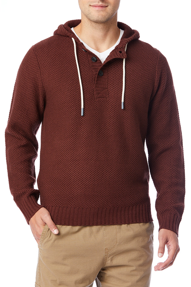 Red Textured Sweater Hoodies for Men - Front View