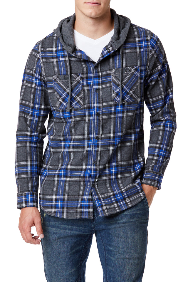 Plaid Flannel Drawstring Hoodies for Men - Front View