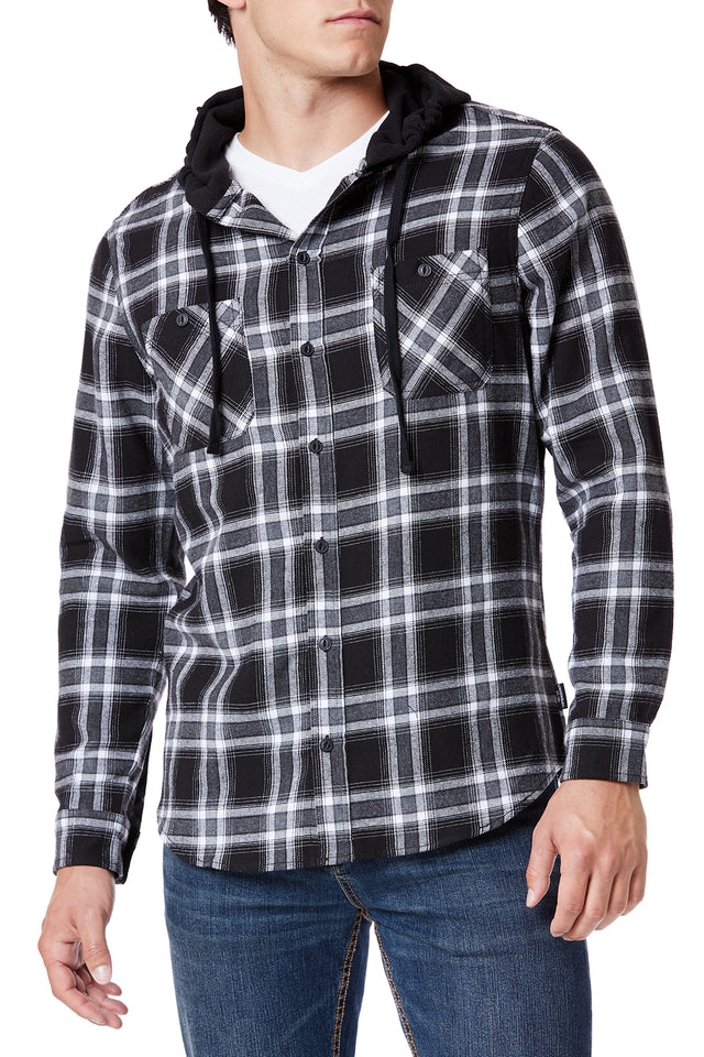 Charcoal Plaid Flannel Drawstring Hoodies for Men - Front View