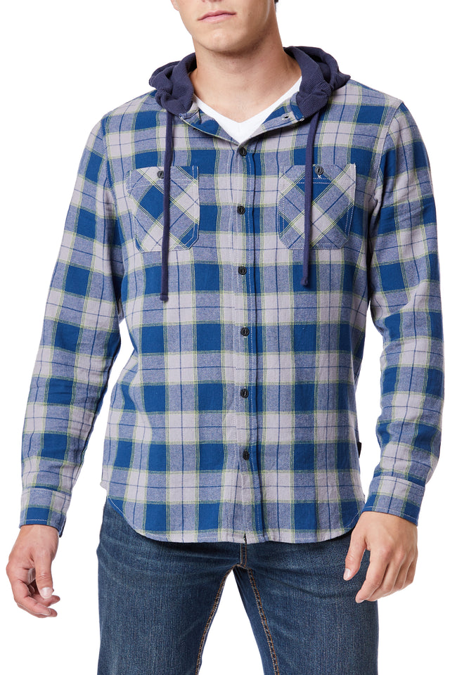 Light Blue Plaid Flannel Drawstring Hoodies for Men - Front View