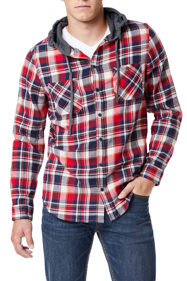 Plaid Flannel Drawstring Hoodies for Men - Front