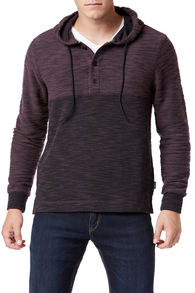 Burgundy Color Block Hooded Henley for Men - Front View