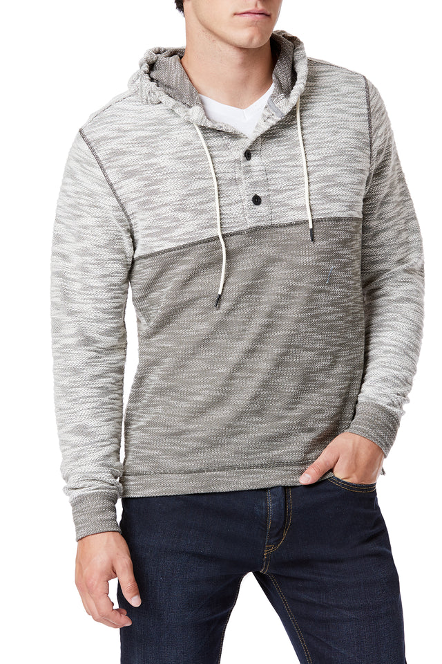 Olive Color Block Hooded Henley for Men - Front View