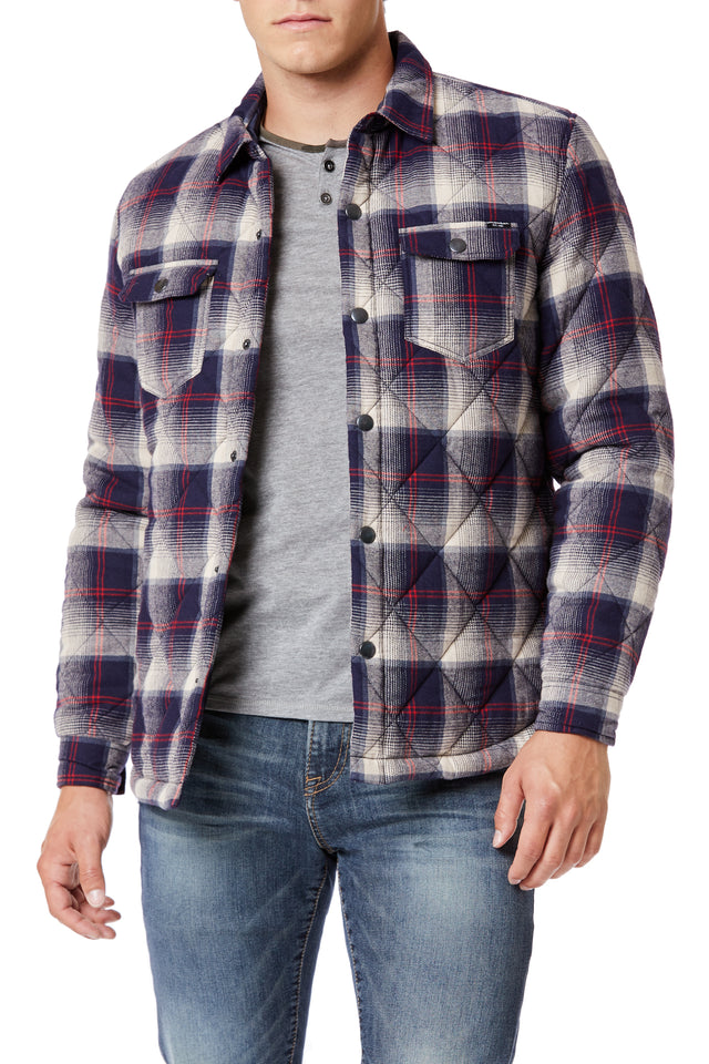 Navy Outerwear Plaid Shirt Jackets for Men - Front View