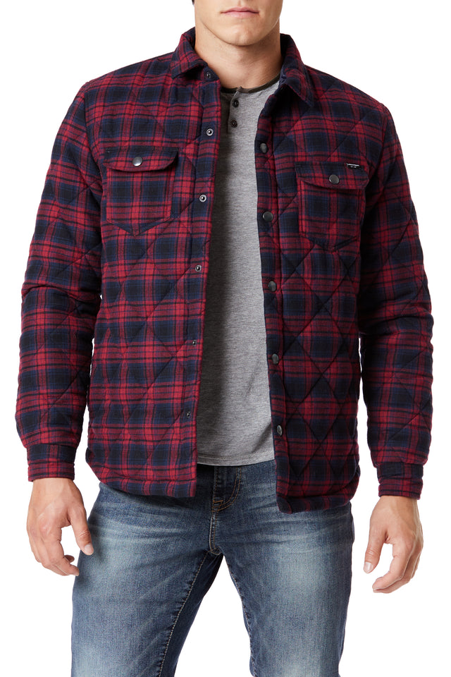 Red Outerwear Plaid Shirt Jackets for Men - Front View