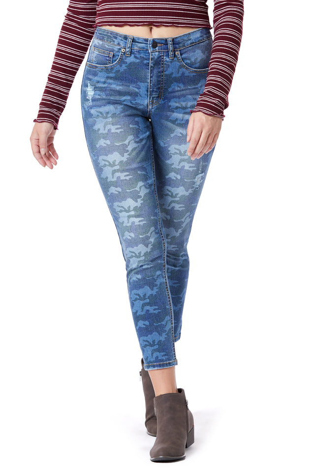 Blue Camo High-Rise Skinny Jeans for Women - Front View