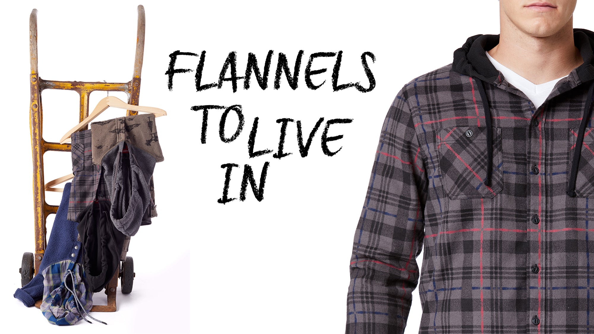 Man wearing plaid button up flannel with hoodie