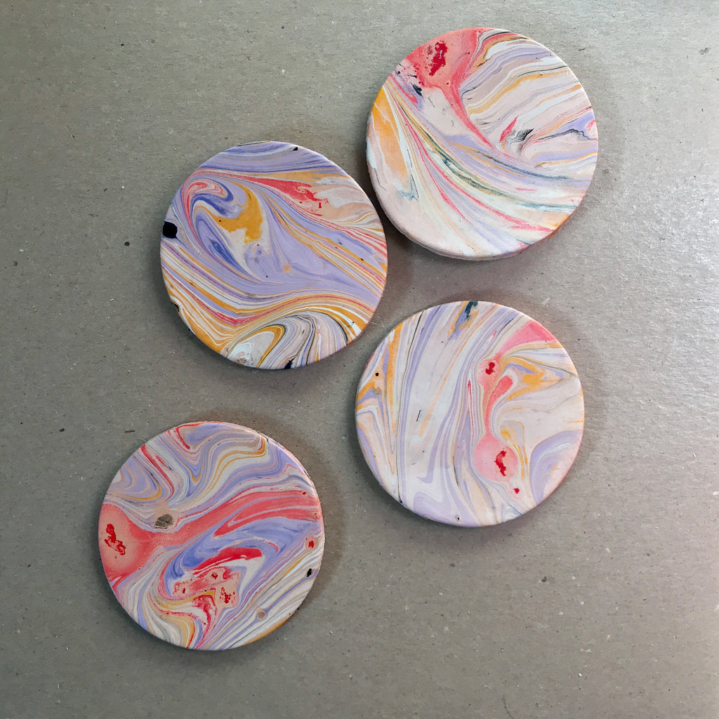 Marbled Leather Coasters (Set of 4)