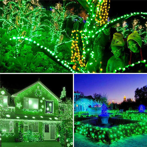 Green Solar Powered Holiday Lights 100 LED Christmas