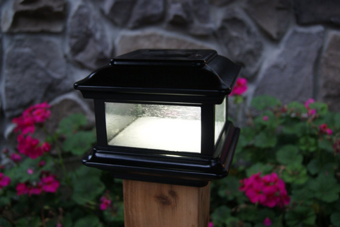Classy Caps Outdoor Solar Powered Fence Post Lights