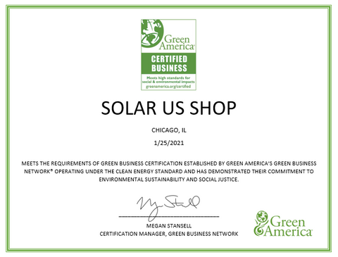 Solar Us Shop's Green Business Certificate for Providing Sustainable Products such as Solar Panel Kits, Solar Outdoor Lights, and Wind Generator Kits
