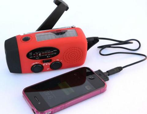 Red Emergency Hand Crank Flashlight Generator With Radio Charging A Smart Phone