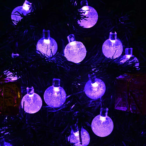 Purple Solar Powered Chrystal Ball Christmas Holiday String Lights