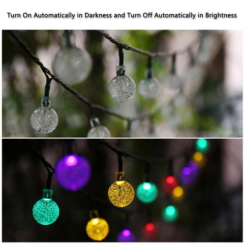 30 LED Crystal Ball Solar Powered Christmas Lights 20 Ft - Solar Us Shop