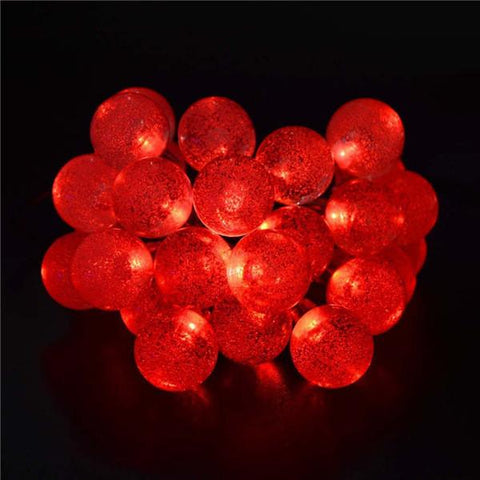 Red Solar Powered Chrystal Ball Christmas Holiday String Lights