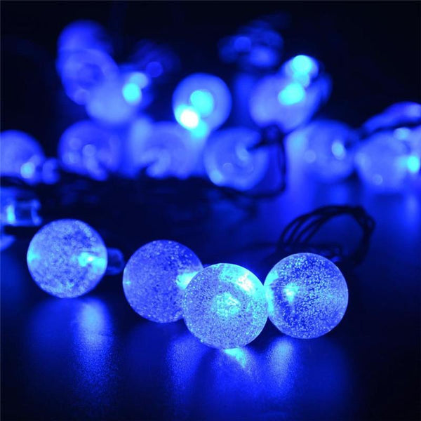 30 LED Crystal Ball Solar Powered Christmas Lights 20 Ft