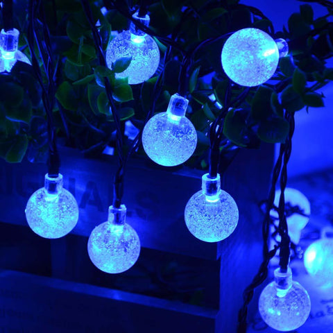 Blue Solar Powered Chrystal Ball Christmas Holiday String Lights