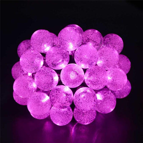 Pink Solar Powered Chrystal Ball Christmas Holiday String Lights