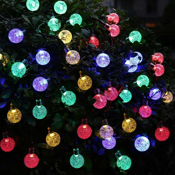 Multi Color Solar Powered Chrystal Ball Christmas Holiday String Lights