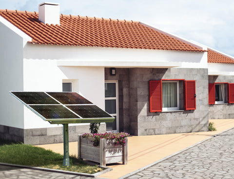 Nature Power Solar Power Kit - Solar Panels installed in front of a house