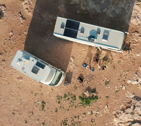 Aerial view of Solar Panels installed on the roof of an RV with campers around