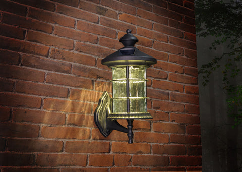 Classy Caps Black Aluminum Hampton Solar Lamp Decorative Glass With Light On Brick Wall