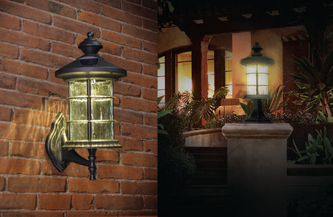 Classy Caps Black Aluminum Hampton Solar Lamp on Brick Wall and Wall Post