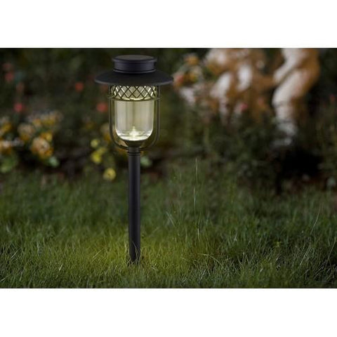 Warm LED Solar Garden Lights in Black Stainless Steel by Classy Caps