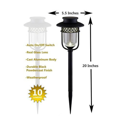 Solar Powered Path Light in Black Stainless Steel 2 Pack 10 Lumens - Solar Us Shop