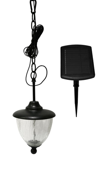 Black Solar Powered Hanging Chandelier Decorative Outdoor Lighting For Porches Patios Gardens and Gazebos