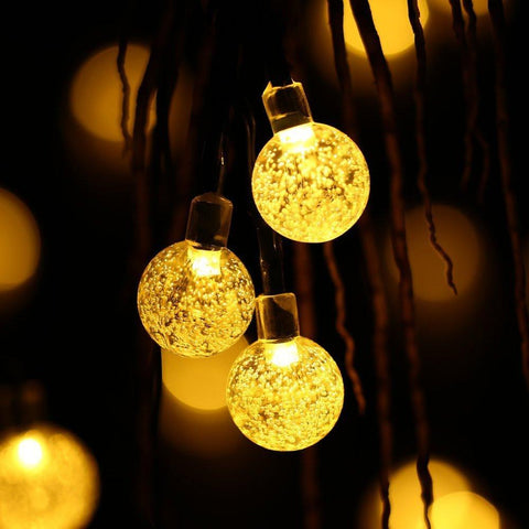 20 Ft Crystal Ball Warm Solar String Lights 30 LED - Solar Us Shop