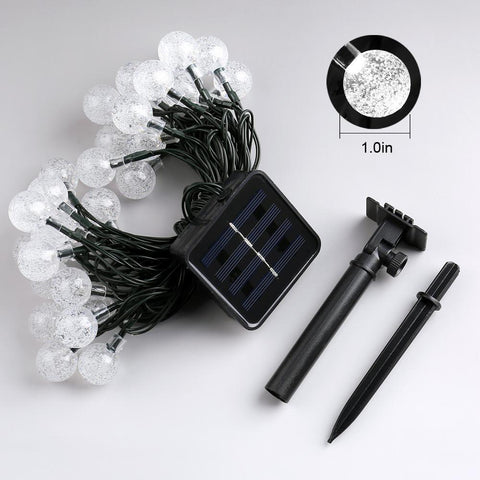 Solar Powered Crystal Ball Globe Outdoor Holiday Lights with Ground Stakes Battery and Solar Panel