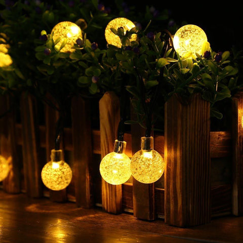 Warm White Solar Powered Globe Shaped Outdoor Decorative String Lights For Holidays Parties Weddings and Events