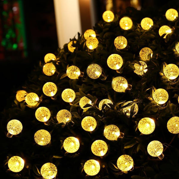 20 Ft Solar Powered Crystal Ball String Lights 30 LED