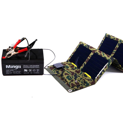 Camouflage Solar Powered Charger Charging a Battery