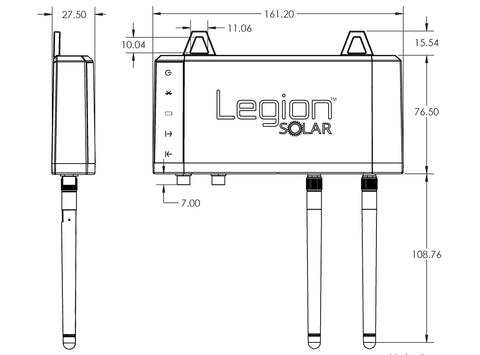 Legion Solar - Solar Regulator with Bluetooth dimensions