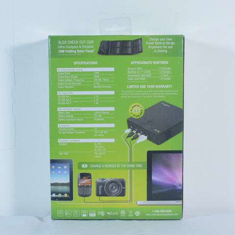 Nature Power - Power Bank Elite 25 Portable Battery Charger back of packaging with specifications