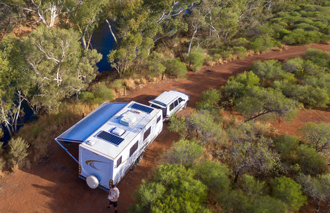 Nature Power 110 W Solar Panels installed on an RV while camping