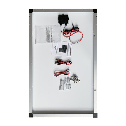 Nature Power 110 Watt Solar Panel back with connectors and mounting accessories