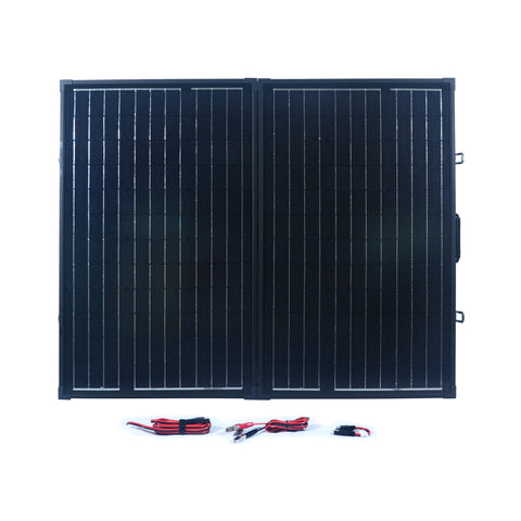 Nature Power 120 Watt Monocrystalline Suitcase Solar Panel front with accessories