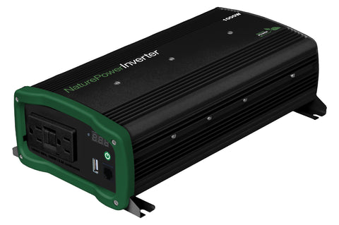 Nature Power 12V 1000W Pure Sine Wave Inverter for Solar Panels back angle and usb oulets